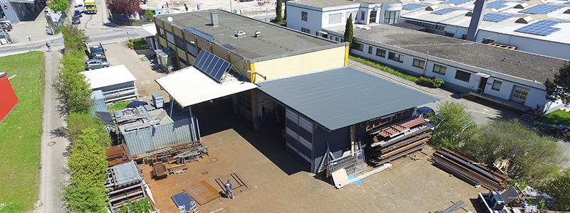 Luftaufnahme: Hinterhof des Unternehmens