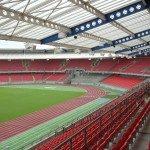 Stahlkonstruktion Stadion Dach und Geländer